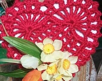 Crochet Valentine's Day Heart,Crochet Heart with Flowers,Valentin's Day Gift,Valentine's Day Decoration,Home Decoration for Valentine's Day