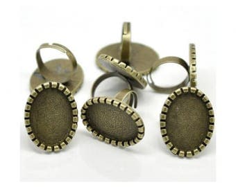 10 ring Bronze cabochon 25x18mm