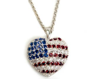 Heroes Heart Necklace, Patriotic Jewelry, Red White and Blue, USA Pendant, United States Flag, 4th of July, Flag Necklace, American N1200