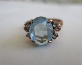 10K Rose Gold Aquamarine and Diamond accent Ring size 6