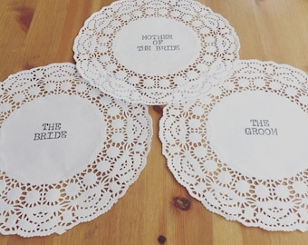 Vintage rustic doiley place setting handstamped
