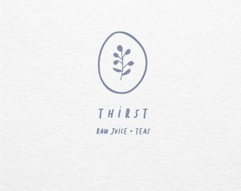 Pre Made Logo // Illustrated Minimalistic Botanical Logo Design // Hand Drawn Branding // Customized with Your Name