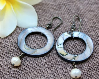Hoop earrings, Shell earrings, Pearl earrings, Silver earrings, Sterling silver, Dangle earrings, Long Boho Bohemian, Shell hoop earrings