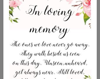 PRINTABLE 8x10 In Loving Memory Wedding Sign with WATERCOLOR FLOWERS