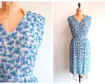 Vintage 1950's Blue Beaded Floral Dress | Size Small
