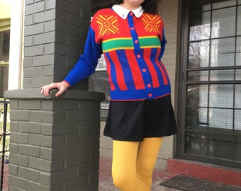 90s Vintage Primary Color Cardigan