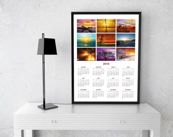 2018 Poster Wall Calendar Template (KJP-W2) Size: A2, A1, A0, format PDF