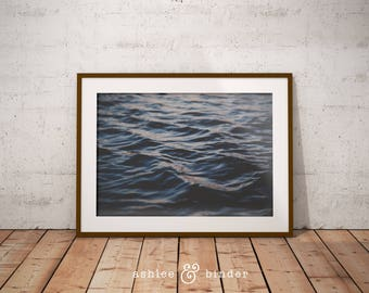 Coastal Wall Art Print, Dark Blue Abstract, Ocean Water, Waves, Beach Decor, Digital Download, Large Printable Poster, Beach Coastal Decor