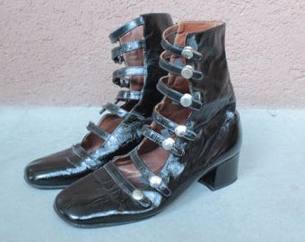 1960's Black Patent Iconic Booties - 60's Patent Leather Strappy Shoes