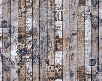 Wood fabric by the half yard, Barn wood, Rustic, Old wood, Brown Home decor, Distressed wood grain, Craft cotton, Scaffolding wood, Crates