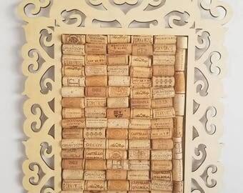 Wine Cork Cork Board, Framed