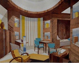 1929 Art Deco, Modernist Interior Design of a Fumoir or Smoking Room. Lucie Renaudot, editee par A. Dumas.  Vintage Color Lithograph.