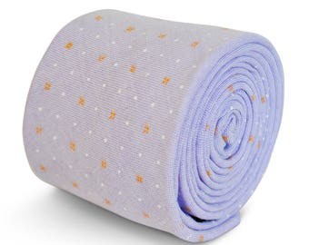 12 x Frederick Thomas 100% cotton tie in lilac with orange and white spots FT3193