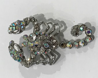 Vintage Zodiac Scorpio Large Brooch/Pin/1980s/Clear Glass Aurora Borealis Rhinestones and Silver Tone Metal