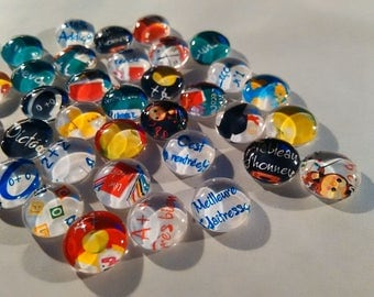 SPECIAL school set 20 single 25 mm glass cabochons