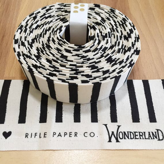 """Rifle Paper Co Wonderland Black and White Cheshire Stripe Quilt binding- Cotton and Steel- 1.25"""" double-fold cotton"""