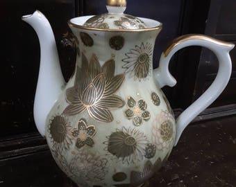 Vintage Gold Imari Coffee Pot with Celedon Gilt Lotus Flowers