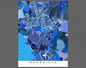 Asheville Map Art, Asheville North Carolina USA, City Street Artwork Poster