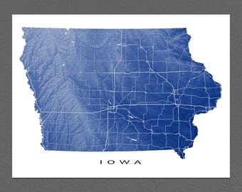 Iowa Map Print, Iowa State Art, USA, Des Moines, USA