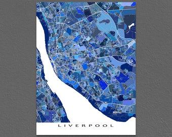 Liverpool Map Print, Liverpool England Map Art, United Kingdom, UK City Map Prints