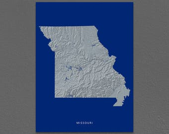 Missouri Map, Missouri Wall Art, MO State Art Print, Landscape, Navy Blue
