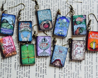 Literary Book Earrings, classic geek book earrings accessories, pride and prejudice peter pan alice in wonderland snow white jane eyre