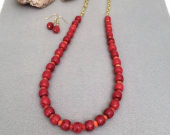Bold Red Necklace Jewelry Set Red Coral Necklace Earrings Set Red Bamboo Beaded Necklace Chunky Bead Necklace Summer Statement Necklace Gift