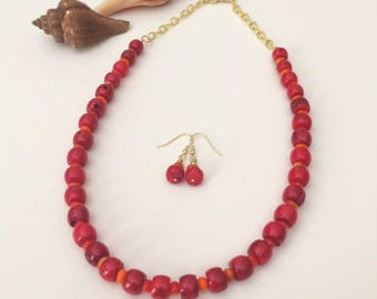 Bold Red Necklace Set Red Coral Necklace Chunky Bead Red Necklace Red Bamboo Bead Necklace Red Jewelry Set Birthday Gift Her Wife Gift Mom