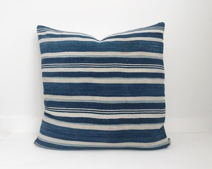 Africa Boho Pillow, indigo, Cover, Ethnic, Vintage, Blue, Stripes