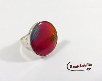 Adjustable ring, round, psychedelic, multicolor, red and orange tones (3)