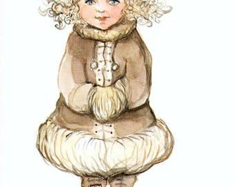 Fairy postcard, winter fashion, stationery