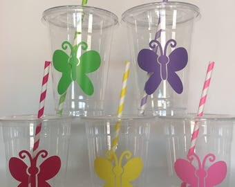 Butterfly party cups, Butterfly Birthday Party Cups, Insect Party Cups, Bug Party Cups, Butterfly Party, Butterfly Baby shower