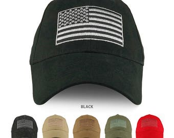 USA Flag Embroidered Structured Brushed Cotton Baseball Cap - EC-USAFLAG