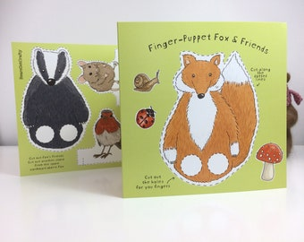 Woodland Animals Finger Puppets Greetings Cards