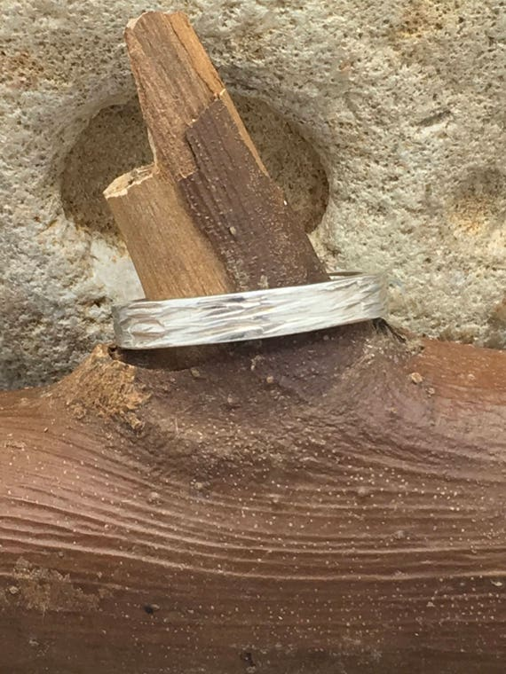 Sterling Silver Bark Effect Ring Hallmarked