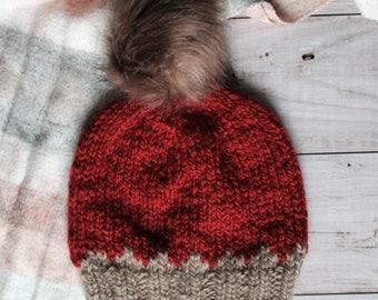 red and beige handknit alpaca hat with brown pompom, winter women's beanie