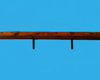 "47-1/8"" by 6"" by 1-5/8"" barn wood beam shelf with steel L shaped brackets -665"