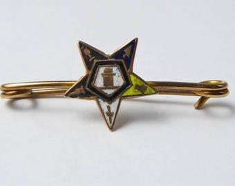 Antique C1920s 9ct Rose Gold Enamel Masonic Eastern Star Pin Brooch