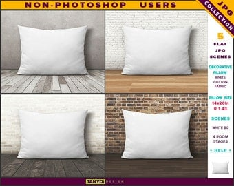 14x20 Decorative Pillow | Styled JPG Scenes | White Cushion on Wooden Floor | Non-Photoshop | Room stage | 30x50cm
