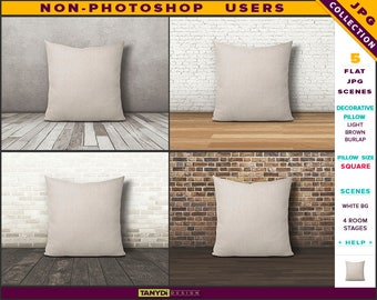 Square Decorative Pillow | Styled JPG Scenes | Light Brown Burlap Cushion on Wooden Floor | Non-Photoshop | Room stage