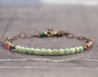 Dainty amazonite bracelet for women, Pink and aqua beaded jewelry, Dainty mint green gift for bride, Minimalist present for mothers day