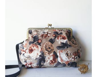 Shoulder bag-bag in fabric jeans with floral pattern brown-handmade bag with snap closure-Valentine's Day gift