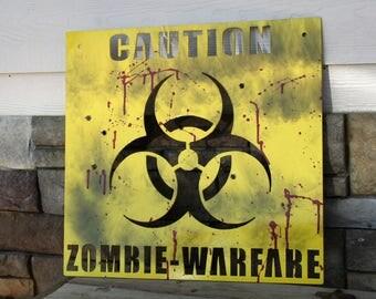 Bloody Metal Zombie Sign, Zombie Apocalypse Metal Warning Sign, Walking Dead, Zombie Road Sign, Bloody Zombie Sign, Zombie Warning Sign