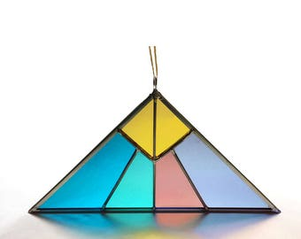 Pyramid Stained Glass Triangle Suncatcher - Pastel
