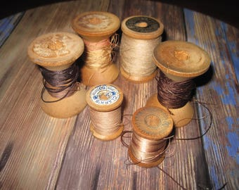 Lot of 6 vintage wooden thread spools worn condition