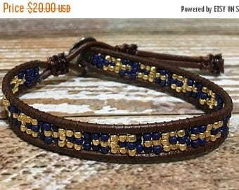 SUMMER SALE Blue Beaded Bracelet / Leather Wrap Bracelet / Bead Loom Bracelet / Chan Luu Style / Seed Bead Bracelet