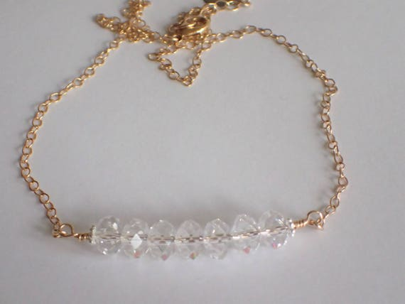 Clear Swarovski Crystal Bar Necklace,  14k Yellow Gold Filled