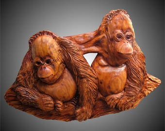 Baby Orangutan Brothers Wall Sculpture Version 1