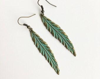 Verdigris brass feather earrings, boho, bohemian, bluebird