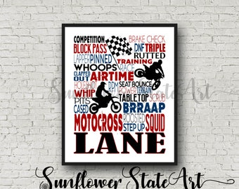 Personalized MOTOCROSS Poster, Gift for Motocross Riders, Motocross Gift, Typography, Motocross Art, Motorcross Print MX Dirt Bike Moto
